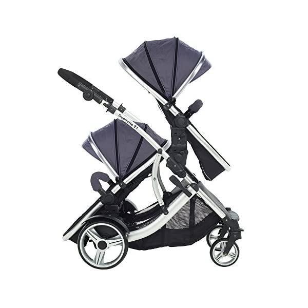 Kids Kargo Duellette Combi Suitable from Newborn. Carrycot Converts to Seat Unit. Dooglebug Silver Kids Kargo Demo video please see link https://www.youtube.com/watch?v=X_tEcnQ8O8E%20 Suitability Newborn - 15kg (approx 3 yrs). Carrycot converts to seat unit incl mattress Carrycot & car seats fit in top or bottom position. Compatible car seats; Kidz Kargo 0+, Britax Babysafe 0+ (no adapters needed) or Maxi Cosi adaptors 4