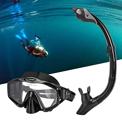 SolUptanisu Unisex Schnorchel Set Volltrockene Schnorchel-Maske mit Tauchmaske und Schnorchelrohr für Erwachsene Kinder Schwimmen & Taucherausrüstung Schwarz