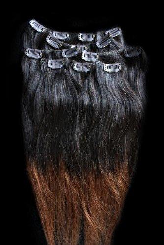 50,8 cm 7 extensions de cheveux 100% Remy Humains Ombre à clipser # T1B/30