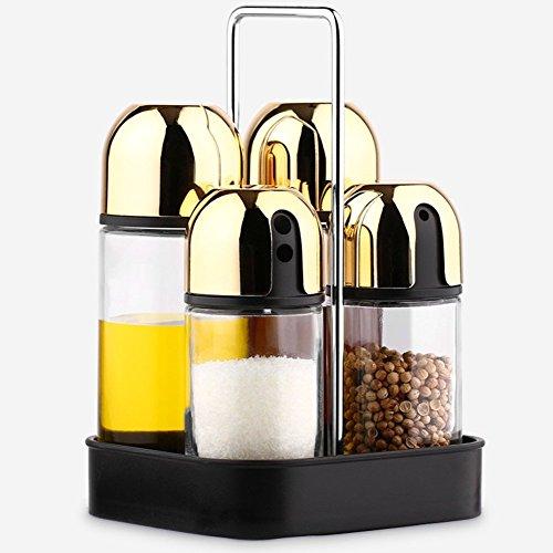 Glas Öl Feinheit Pfefferstreuer,Multifunktional Zuhause Pulverisiert Gewürze Zoll Geschirr Salz Chili Pfeffer Stehlen Rostfrei Gewürz Pfeffermühle Krug-golden