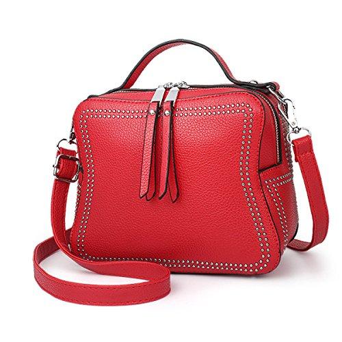 ZPFME Womens Tote Handbag Autunno E Inverno Moda Rivetti Borsa A Tracolla Acquirente Pelle Party Red