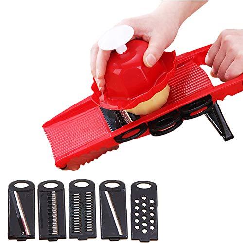 XTZ-YGBG Mandolin Slicer-Schneidemaschine, Verstellschaufel Slicer Edelstahl Allesschneider Zwiebelgemüse Kartoffelchip Frites und Zerkleinerer