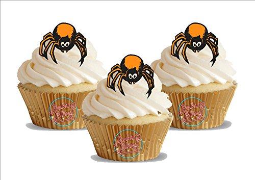 schwarze Spinne 12 essbare Standup Kuchen-Deko, Kuchendekorationen, essbar, Premium, 2 x A5, für 12 Bilder ()