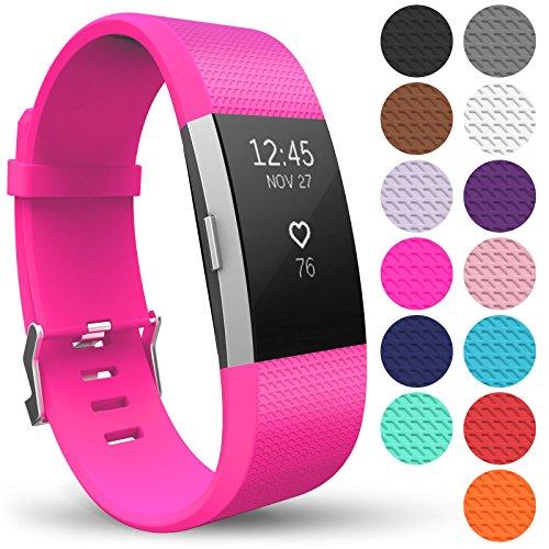 Yousave Accessories® Armband für Fitbit Charge 2, Ersatz Fitness Armband und Uhrenarmband, Silikon Sportarmband und Fitnessband, Wristband Armbänder für Fitbit Charge2 - Klein, Fuchsia