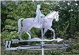 Mittelgroße Wetterfahne Reiter mit Pferd aus Edelstahl