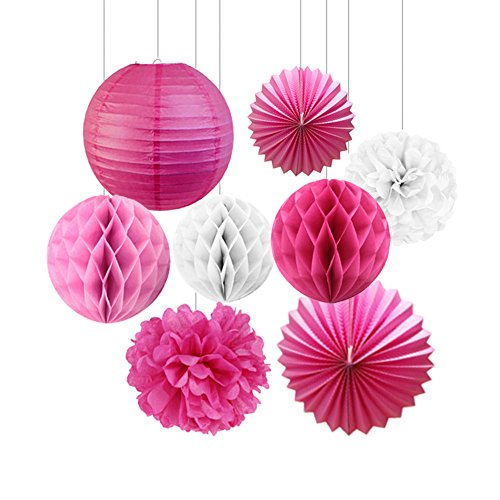 SUNBEAUTY 8er Set Tissue Papier Blume Pompom & Honeycomb Wabenball & Lampion Rosa Blau Serie Mixed Hochzeit Geburtstag Babyoparty Dekoration (Rosa)