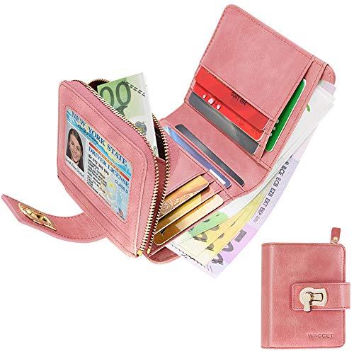 WACCET Carteras Piel Mujer Bloqueo RFID Monedero de Piel con Cremallera, Billetera de Mujer con 12 Tarjetas, Cartera de Cuero de Mujer Pequeño (Rosado)