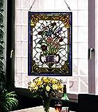 makenier Vintage Tiffany-Stil gebeizt Art Glas Deko Vase Blumenvase Fenster Panel Wand-zum Aufhängen