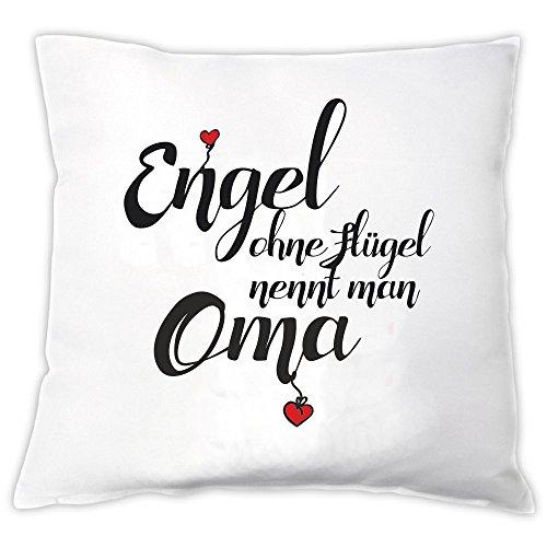 """Kissen \""""Engel ohne Flügel nennt man Oma\"""", Zierkissen, Dekokissen, Geschenkidee, Geburtstag, Großmutter, Weihnachten, Oma, Omi"""