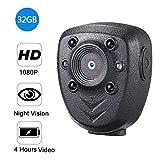 Hofet Mini Kamera,HD 1080P Tragbare Überwachungskamera mit Bewegungsmelder/Infrarot Nachtsicht/Videoaufzeichnung Versteckte Compact Treffen Videokamera Kamera Für iPhone/Android/iPad