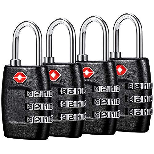 TSA Candados para equipaje (4 unidades) - Candados de combinación de