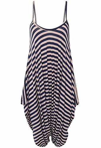 Islander Fashions Damen Sleeveless Riemchen Printed Lagenlook Strampler -