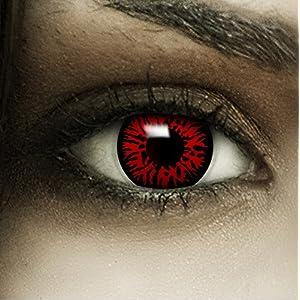Farbige rote Kontaktlinsen Dämon + Kunstblut Kapseln + Behälter von FXCONTACTS®, weich, ohne Stärke als 2er Pack – perfekt zu Halloween, Karneval, Fasching oder Fasnacht