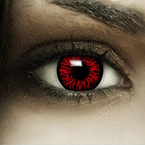 """Farbige Kontaktlinsen """"Dämon"""" + Kunstblut Kapseln + Behälter von FXContacts in rot, weich, ohne Stärke als 2er Pack - angenehm zu tragen und perfekt zu Halloween, Karneval, Fasching oder Fasnacht"""