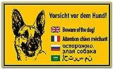 KAVARO Schild Vorsicht Hund [25x15cm] 5 Sprachen Hartschaumplatte