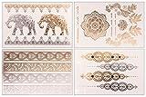 Flash Tattoo Set Sheebani | Elefanten Tattooblumen Fingertattoos Armbänder orientalisch indisch | Temporäres Tattoo Set mit 4 Sheets und 19 gold und silber Motive | weitere Designs verfügbar | Original POSH Tattoo®