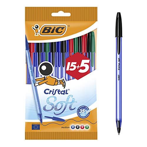 Bic cristal soft punta media 1,2 mm confezione 20 penne colori assortiti