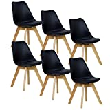 WOLTU 6er Set Esszimmerstühle Küchenstuhl Design Stuhl Esszimmerstuhl Kunstleder Holz Neu Design Schwarz BH29sz-6