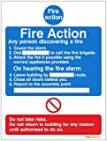 Fire Action, Any Person Discovering A Fire Sign - 150mm x 200mm - Self Adhesive Complete With Inspirational Print