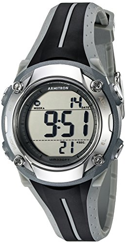 Armitron Sport Women's 45/7063GRY Digital Chronograph Black and Grey Resin Strap Watch