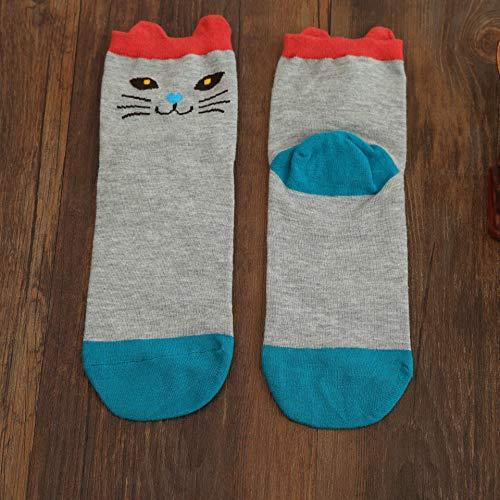 XIAOL Home Herbst und Winter Frauen Socken gekämmte Baumwolle Jacquard Stereo Ohr weibliche Socken Katze Japanisch (Color : Light Grey)
