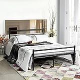 Aingoo letto matrimoniale nero letti in ferro battuto letti di metallo ferro letto 135x190cm