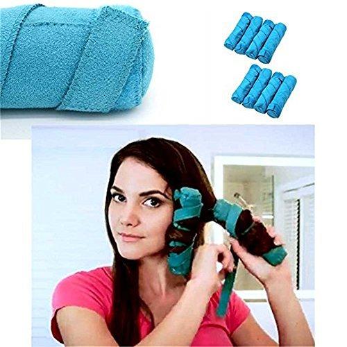 WPQES 8 Stück Blau Nachtzeit Haar Lockenwickler Schlaf Haarrollen Einfach Spiral Curls
