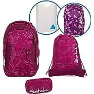 Satch Sac à dos scolaire Set de 5accessoires avec Sleek Purple Leaves 9h3Purple Leaves