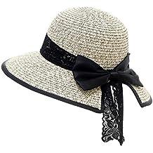 24338ce88268 poetryer Chapeau de Soleil UPF 50+ Plage Chapeau de Paille Anti-UV Bord  Large