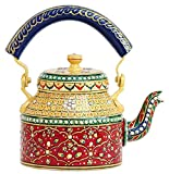 CraftJunction Handpainted Traditional Aluminium Colourfull Decorative Tea Kettle