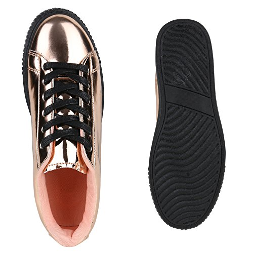 b217d0c4adb7 ... Plateau Sneakers   Damen Sneaker Low   Glitzer Metallic Schuhe    Sportschuhe Strass   Turnschuhe Lack
