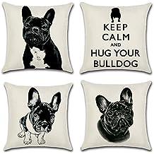 4 decorativas fundas de cojín cuadradas de lino y algodón con bonito diseño de bulldog francés