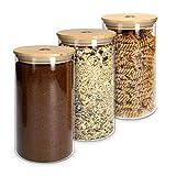 Navaris Set 3X Barattoli Vetro e bambù - Contenitori 1000ml per Conservazione Alimenti - Barattolo in Vetro e Tappo in Legno con Chiusura in Silicone