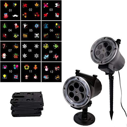 Holeider Halloween LED Beamer Licht Lampe 12 Muster Landschaftslampe Projektion Indoor Draussen Landschafat Beleuchtung Party Fernbedienung