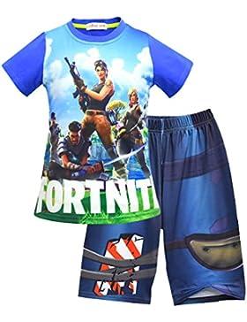 CTOOO Unisex Fortnite Conjunto De Camiseta Y Pantalones Cortos con Personajes De Fortnite Impresión 3D Figura...