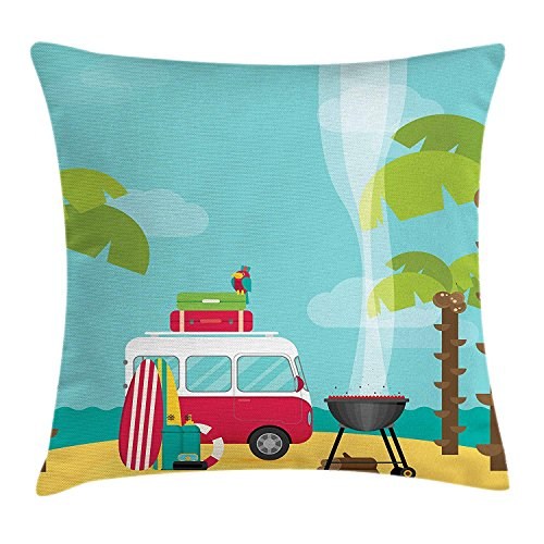yiyuanyuantu Explore Throw Pillow Cushion Cover, Caravan Camping with Barbeque and Surf Boards Tropical Beach Banana Coconut Trees, Decorative Square Accent Pillow Case, 20 X 30 Inches, Multicolor (Banana Board Gold)