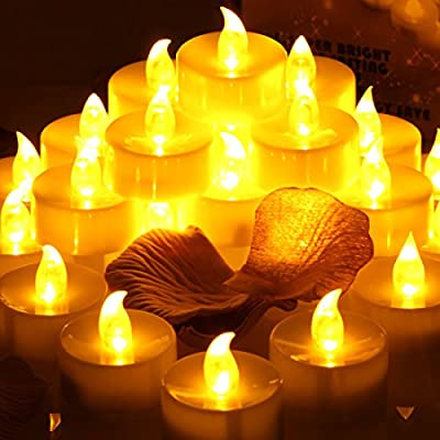 Pack of 24 LED Flickering Tealight Candles Flameless Tea Light Battery Operated Look Like Real Flicker Candles Wedding Long Lasting - low-cost UK light store.