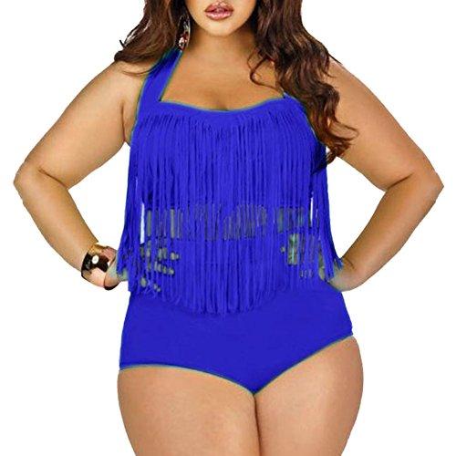 DELEY Frauen Quaste Plus Größe Hohe Taille Bikini Badeanzug Bademode Blau Größe XL