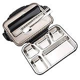 JINRU Lunchbox-Behälter Mit Fächern Tragbare Lunchbox Aus Edelstahl Für Kinder Mit Löffel Gabel Schule Bento Lunchbox