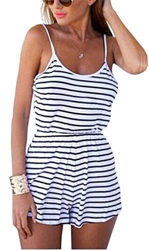 Femmes Sexy sans manches Rayures Impression taille élastique Slim Casual Slip Playsuit Bleu