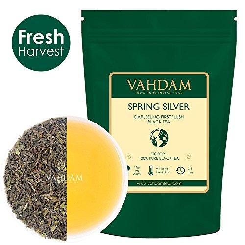 VAHDAM, Primavera Argento Darjeeling Tè Primo Flush (50 tazze) | Foglie di tè nere non tagliate al 100% | AROMATIC & FLAVORY Darjeeling Tè Foglia sfusa | Il CHAMPAGNE dei tè | 100gm