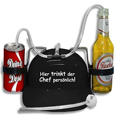 Trinkhelm Spaßhelm mit Print - Hier trinkt der Chef persönlich - 51660 Farbe schwarz