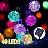 LED Solar Lichterkette außen, GreenClick 7.85 Meter 40 LEDs Bunt Kugeln Solarlampe für Garten Party Hochzeiten Bäume Weihnachten Deko