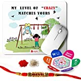 Indigifts Raksha Bandhan Gifts For Brother Set Of My Level Of Crazy Matches Yours Quote Printed Multi Gift Set Of Mouse Pad 8.5x7 Inches, Crystal Rakhi For Brother, Roli, Chawal & Greeting Card - Rakhi Gifts For Brother, Rakhi For Brother With Gift, R