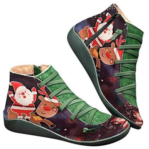 KUDICO Damen Schnürstiefeletten Frauen Casual Flache Schuh Leder Schnürstiefel Seitlicher Reißverschluss Stiefeletten Stiefel Weihnachts Kurzer Boot(36 EU, Schwarz)