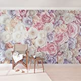 Vliestapete, hochwertige Fototapete, XXL-Wandbild im Querformat, Wandschmuck in 3D-Optik, für Schlafzimmer, Wohnzimmer, Maße (H x B):255 cm x 384 cm; Motiv:Pastellpapier-Kunstrosen.