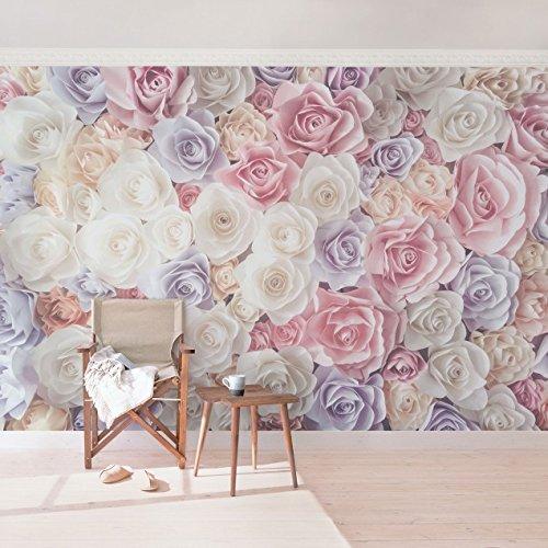 #Vliestapete, hochwertige Fototapete, XXL-Wandbild im Querformat, Wandschmuck in 3D-Optik, für Schlafzimmer, Wohnzimmer, Maße (H x B):255 cm x 384 cm; Motiv:Pastellpapier-Kunstrosen.#