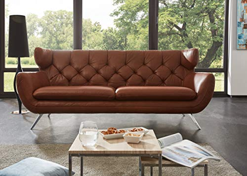 KAWOLA Sofa Charme 3-Sitzer Leder braun Echtleder Ledersofa 225x94x95cm (B/H/T)