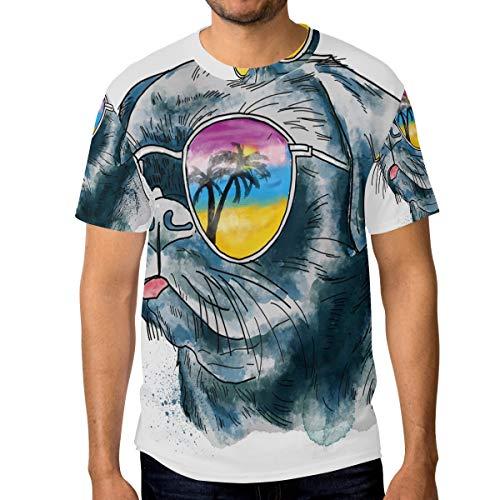 T-Shirt für Männer Jungen Mode Bulldog In Sonnenbrillen Benutzerdefinierte Kurzarm