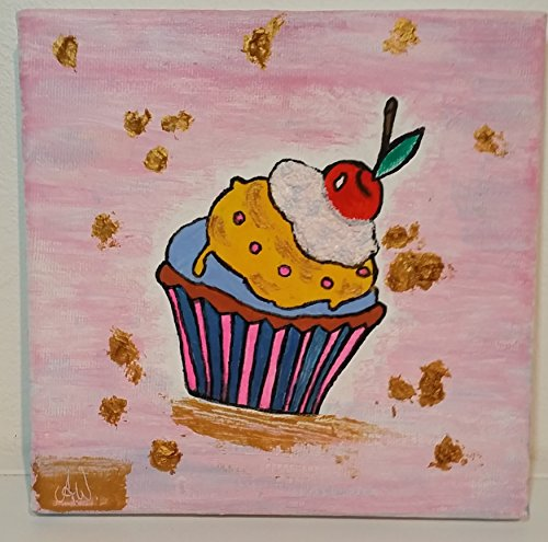 Leinwand mit Motiv Muffin Acrylmalerei 15 x 15 cm Bild handgemalt